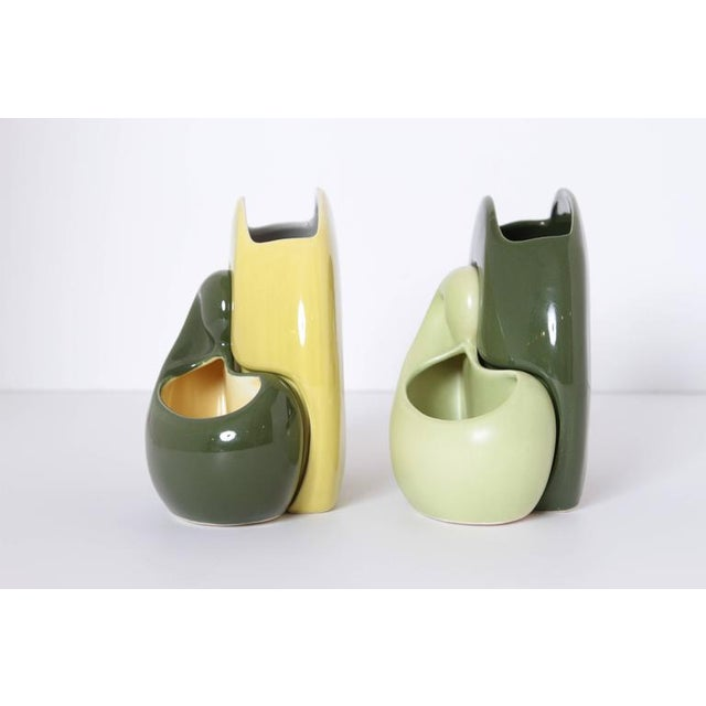 Red Wing Pottery Pair of Belle Kogan Patented Pairs Nesting Biomorphic Mid-Century Vases for Red Wing For Sale - Image 4 of 11