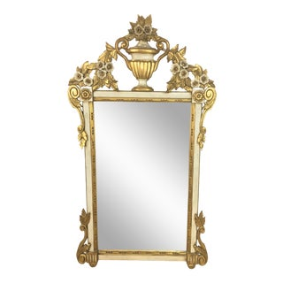 1960s Italian Carved Giltwood Mirror For Sale
