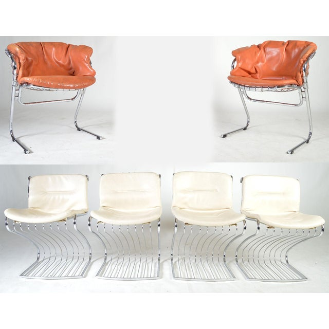 A rare and beautiful Italian dining chair set designed by Gastone Rinaldi and produced by Rima having tubular chromed...