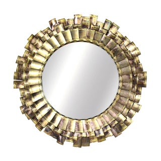 1970 Large C. Jeré Eyelash Mirror Signed & Dated For Sale
