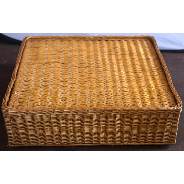 Vintage Mid Century Triangular Wicker/Rattan Armchair and Ottoman For Sale - Image 14 of 17