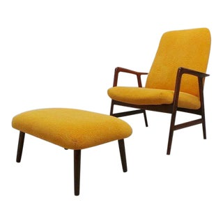 Mid Century Danish Modern Teak and Pumpkin Orange Alf Svensson Lounge Chair With Ottoman For Sale