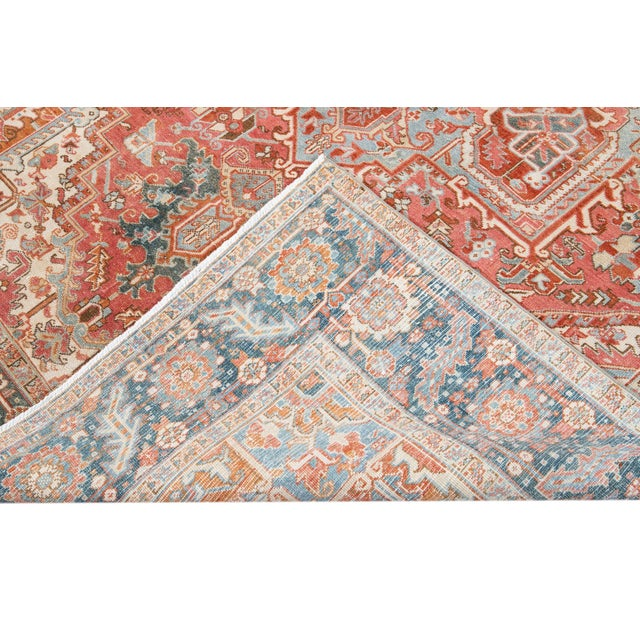 Early 20th Century Antique Heriz Wool Rug For Sale - Image 10 of 11