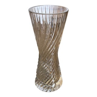 Tall Crystal Hourglass Swirl-Ribbed Vase For Sale