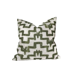 Contemporary Tulu Pillow Cover in Olive Green For Sale