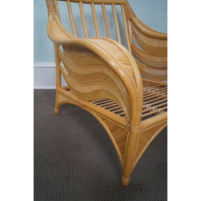 Rattan Palm Leaf Bamboo Lounge Chair - Image 6 of 10