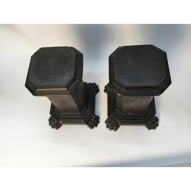 Baroque 18th Century Italian Marbleized and Carved Pedestals- a Pair For Sale - Image 3 of 13