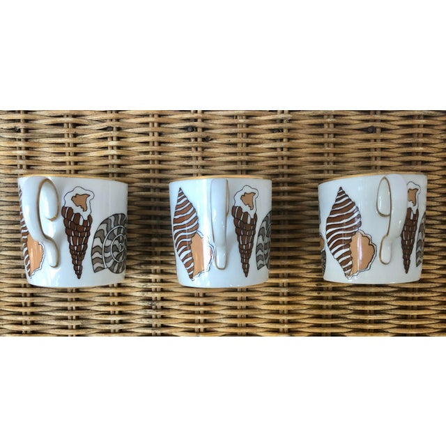 Fitz and Floyd Fitz and Floyd for Neiman Marcus Shell Motif Espresso Demitasse Cups - Set of 3 For Sale - Image 4 of 11