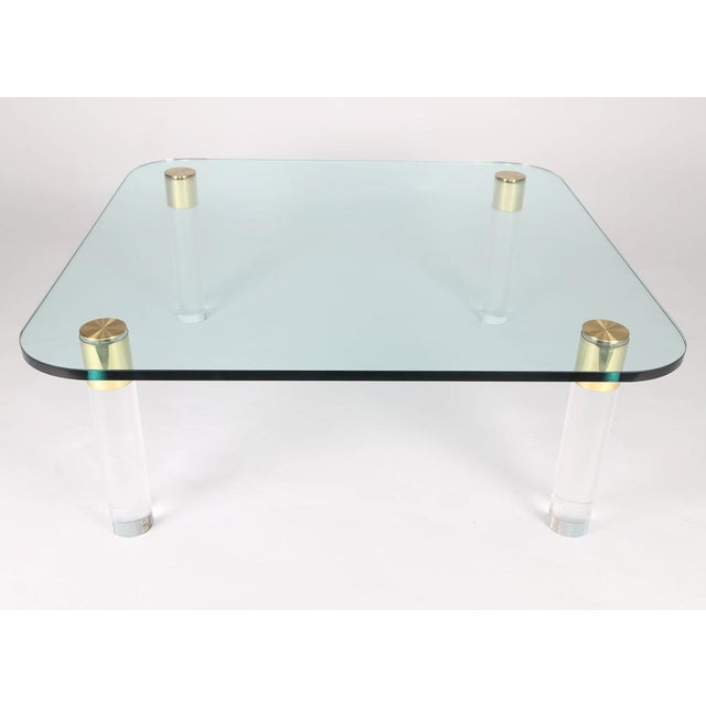 Modern 1970S BRASS, GLASS AND LUCITE COCKTAIL TABLE BY PACE For Sale - Image 3 of 6