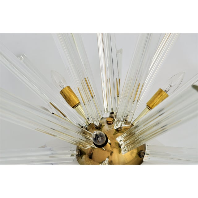 Venini Mid-Century Modern Italian Murano Glass & Brass Sputnik Table Lamp - Image 5 of 12