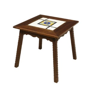 1930s California Mission Wooden Tile Top Table For Sale