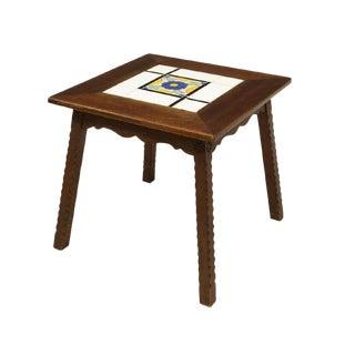 1930's Vintage California Mission Tile Top Wood Side Table For Sale