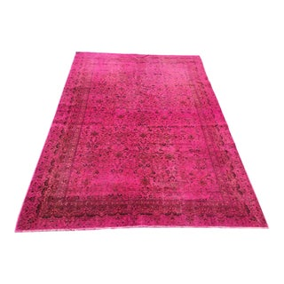 Hot Pink Overdyed Turkish Area Rug For Sale