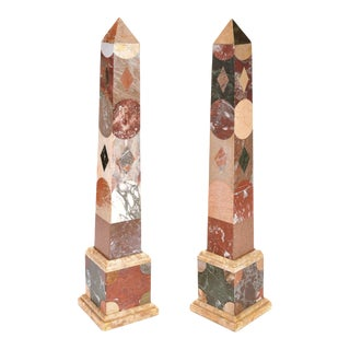 Italian Antique Inlaid Pietra Dura Colored Marble Obelisks For Sale