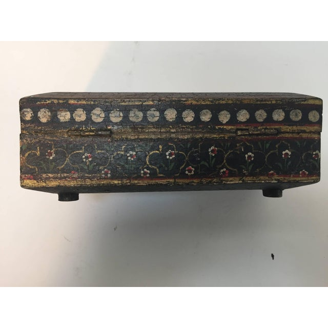 Rajhastani Hand-Painted Decorative Footed Tea Box For Sale - Image 9 of 10