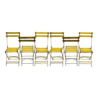Mid-Century Paris France Park Bistro Folding Chairs - Set of 6