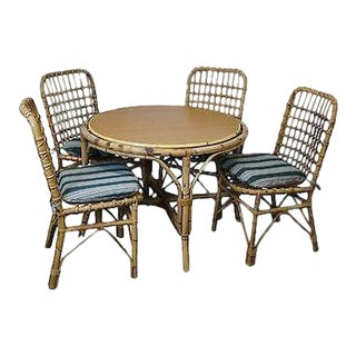 Vintage Rattan Bamboo Round Patio Sunroom Dining Table & Chairs For Sale