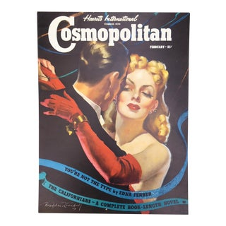 Vintage 1940's Cosmopolitan Newsstand Sign For Sale