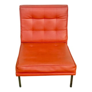 Mid-Century Modern Orange Tufted Library Chair