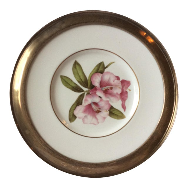 Spode Floral Plate With Shreve Sterling Silver Rim For Sale