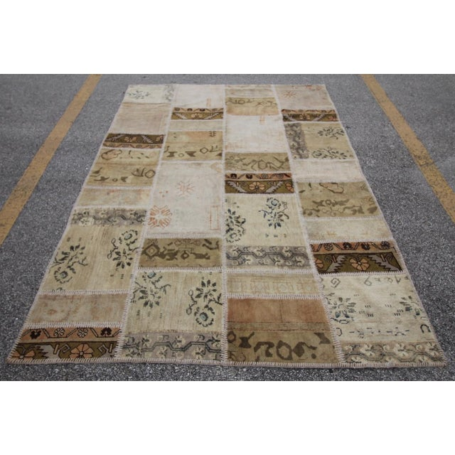 Vintage Turkish Patchwork Oushak Rug - 5′10″ × 8′5″ - Image 4 of 6