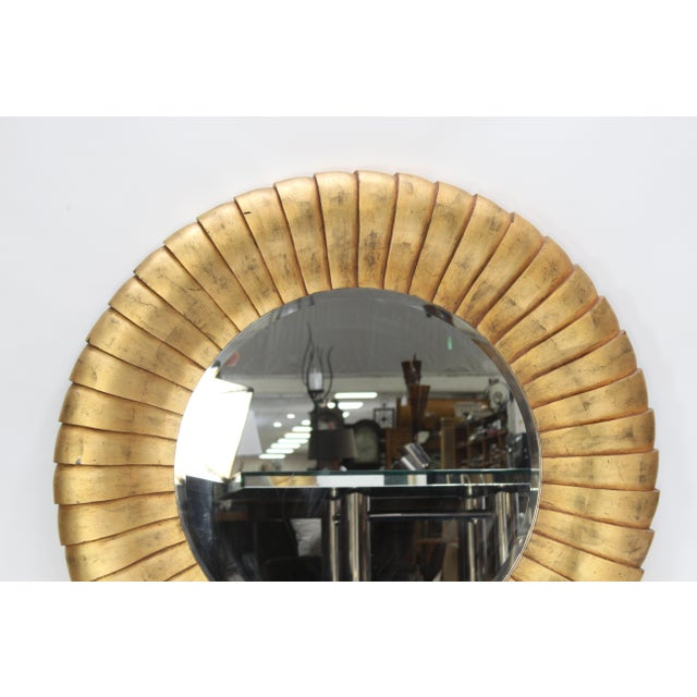 1990s Mid-Century Style Large Contemporary Round Gold Mirror For Sale - Image 5 of 6