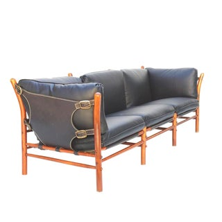 Black Leather Safari Sofa by Arne Norell For Sale