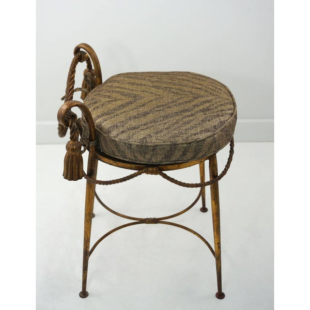 Fabric Hollywood-Regency Style, Italian Florentine Gilt-Metal Vanity Stool,1960s For Sale - Image 7 of 9