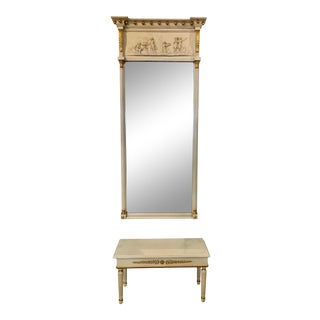 Two Piece Neoclassical Tall Pier Trumeau Mirror and Marble Top Table Bench For Sale