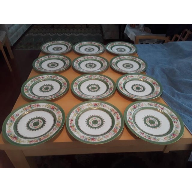 Antique C. Ahrenfeldt Limoges Dinner Plates With Hand Painted and Gilt Accents - Set of 12 For Sale - Image 13 of 13