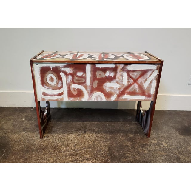 Red Graffitied Artist Painted 1970s Desk or Vanity - a Pair For Sale - Image 8 of 10