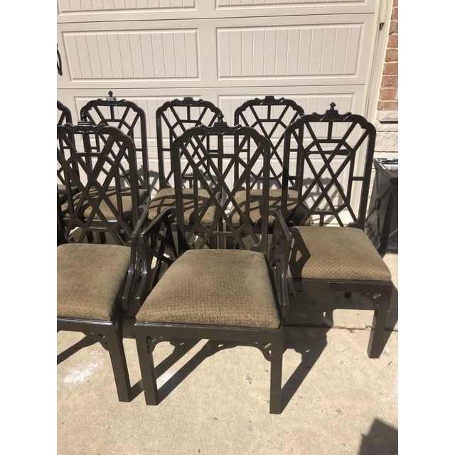Offered is a true vintage set of chinese chippendale dining chairs by Century Furniture. This set of 8 includes two...