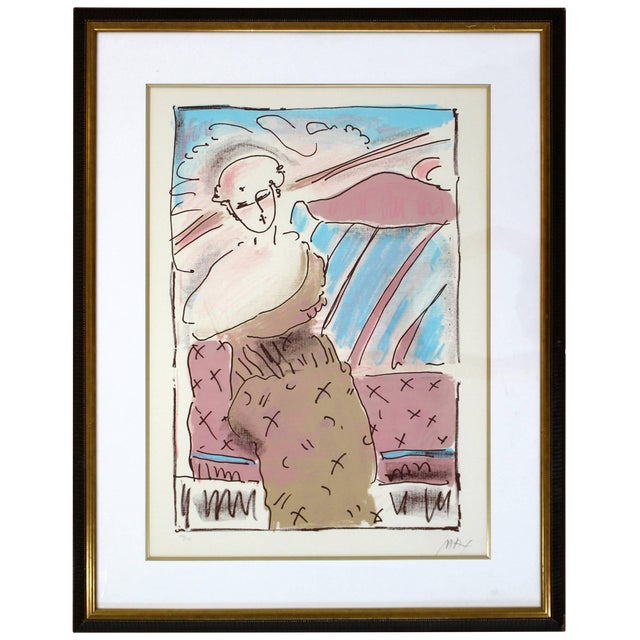 Mid-Century Modern Framed Print by Peter Max Seated Lady Signed Numbered For Sale