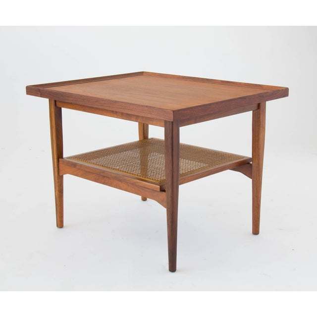 Tan Drexel Declaration Side Table with Cane Shelf For Sale - Image 8 of 8