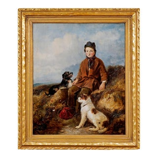 """""""a Rest on the Way/Boy With 2 Dogs"""" William Walker Morris (British, Fl. 1850-1867) Oil Painting on Canvas For Sale"""