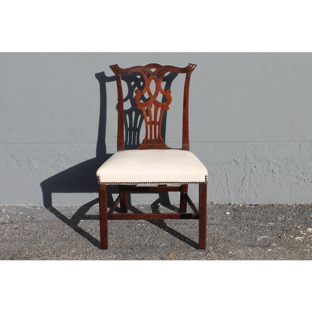 Vintage Mid-Century Chippendale Style Carved Mahogany Occasional Chair For Sale - Image 12 of 12