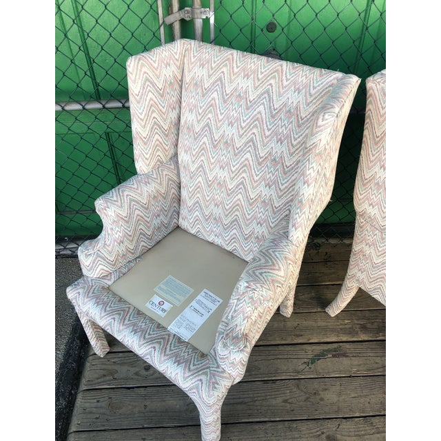 Mid Century High Back Wingback Chair With Vintage Upholstery- A Pair For Sale - Image 11 of 12