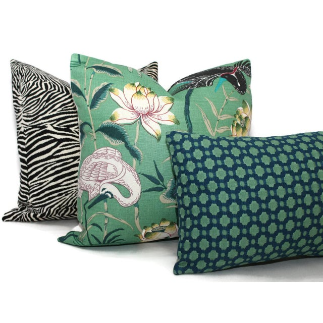 "Asian 20"" x 20"" Jade Lotus Garden Decorative Pillow Cover For Sale - Image 3 of 6"