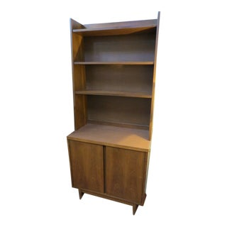 1960s Vintage Mid Century Modern Walnut Bookcase For Sale