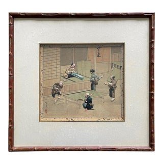 Framed Japanese Oshi-E Textile Art Meiji Period from a Rare Large Set For Sale