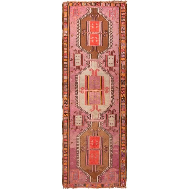Pink Vintage Mid-Century Geometric Wool Kilim Runner - 5′1″ × 14′9″ For Sale - Image 8 of 8