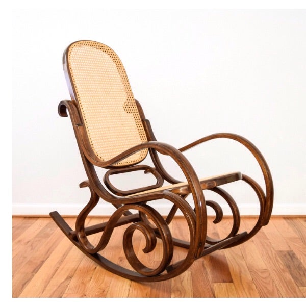Vintage Thonet Style Bentwood Cane Rocking Chair - Image 2 of 6