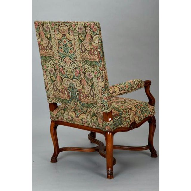 19th Century French Louis XIV Armchair Covered In Old World Style Tapestry Fabric For Sale - Image 4 of 8