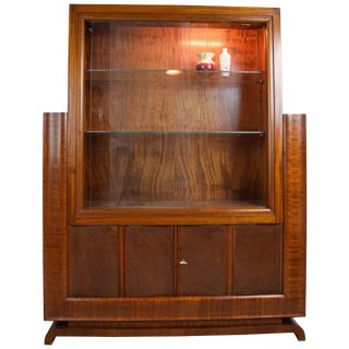 French Art Deco Light-Up Display Cabinet, 1930s For Sale