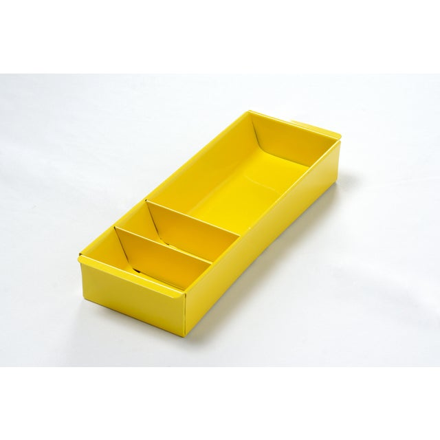 Steel Tanker Drawer Insert Repurposed as Desktop Organizer, Refinished in Yellow For Sale In Los Angeles - Image 6 of 6