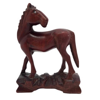 Chinese Carved Wooden Horse For Sale