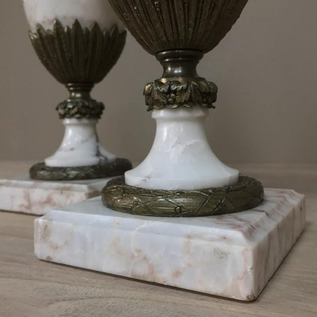 Pair 19th Century French Louis XVI Marble Cassolettes ~ Mantel Urns With Bronze Mounts For Sale - Image 11 of 12