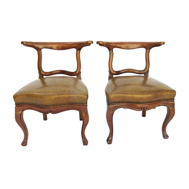 English Regency Leather Side Chairs - Pair - Image 1 of 5