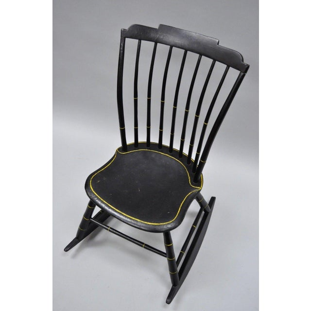 Antique Hitchcock Style Child's Black Bow Back Windsor Rocking Chair For  Sale - Image 9 of - Antique Hitchcock Style Child's Black Bow Back Windsor Rocking Chair