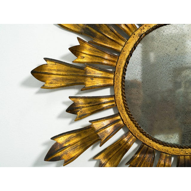 Gilt Metal Sunburst Mirror For Sale In New York - Image 6 of 8